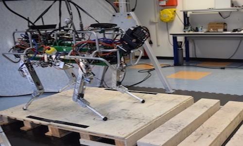 Photo of the HyQ quadruped robot.